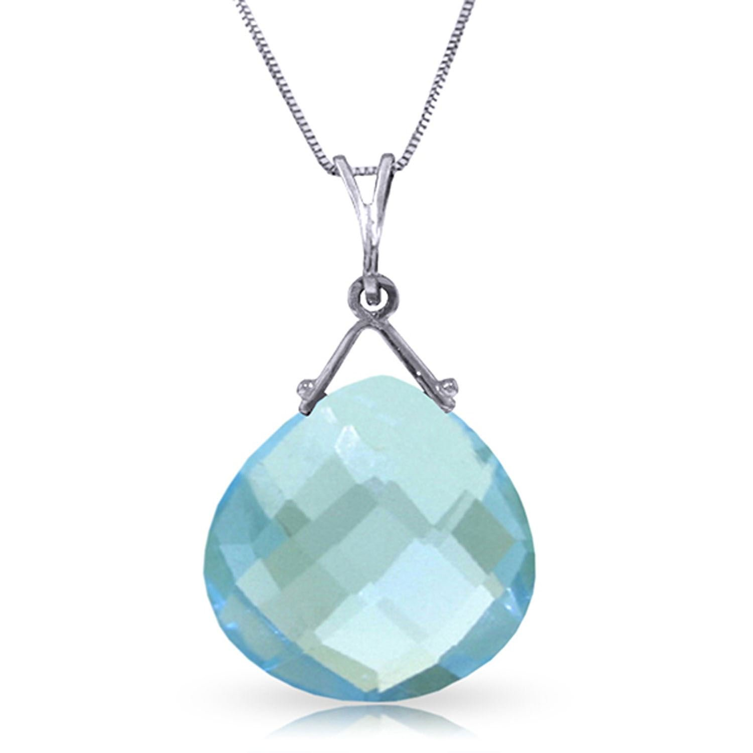 ALARRI 8.5 Carat 14K Solid White Gold Instrument Of A Giver Blue Topaz Necklace with 24 Inch Chain Length