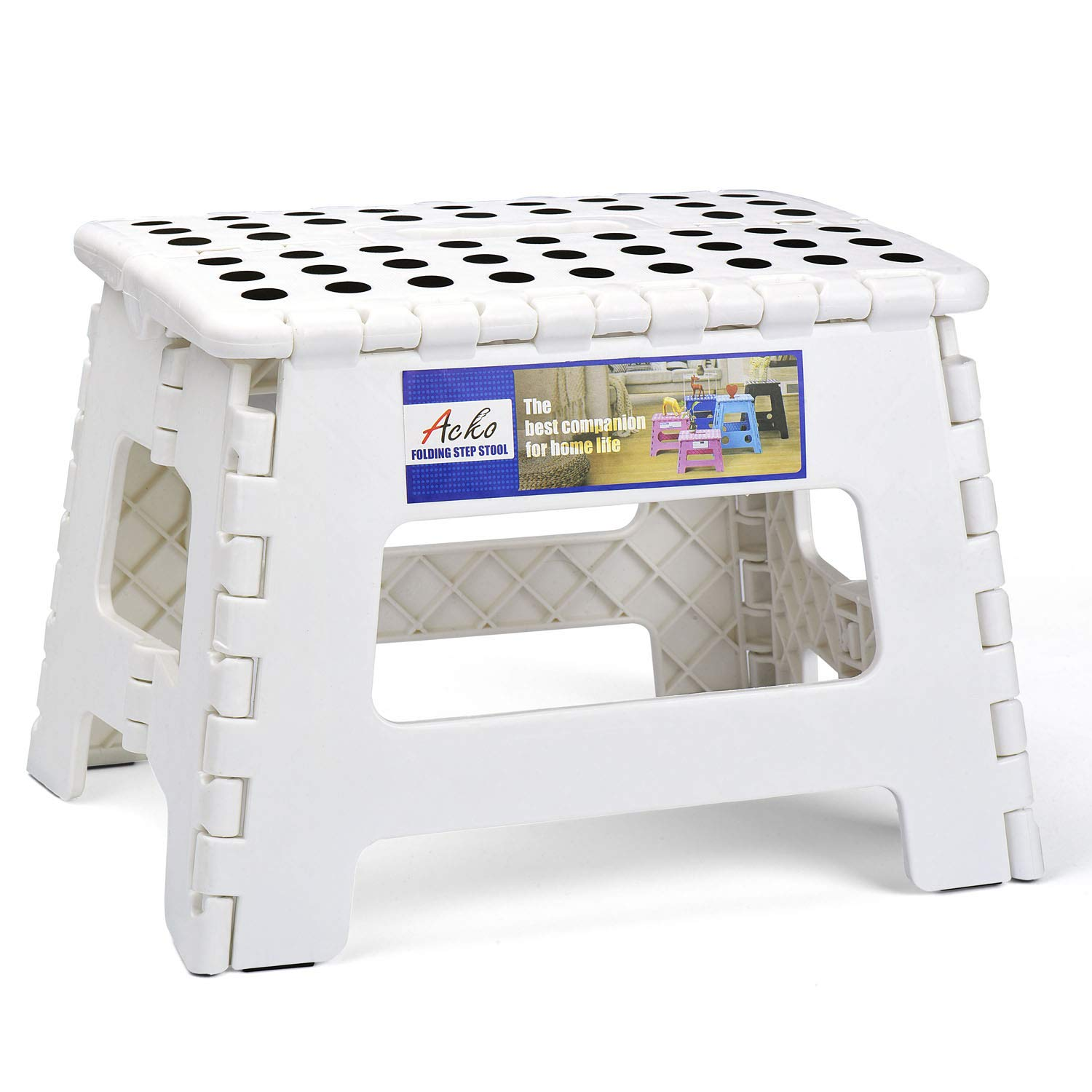 Acko Folding Step Stool Portable Collapsible Plastic Step Stool,9 inch Foldable Step Stool for Kids,Non Slip Folding Stools for Kitchen Bathroom Bedroom (White) by Acko