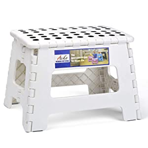 ACSTEP Acko Folding Step Stool Portable Collapsible Plastic Step Stool,9 inch Foldable Step Stool for Kids,Non Slip Folding Stools for Kitchen Bathroom Bedroom (White)