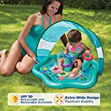 SwimSchool Baby Splash Mat with Removable Canopy and Backrest, Extra-Wide Inflatable Mat with Three Toys, 6 to 24 Months, Aqua