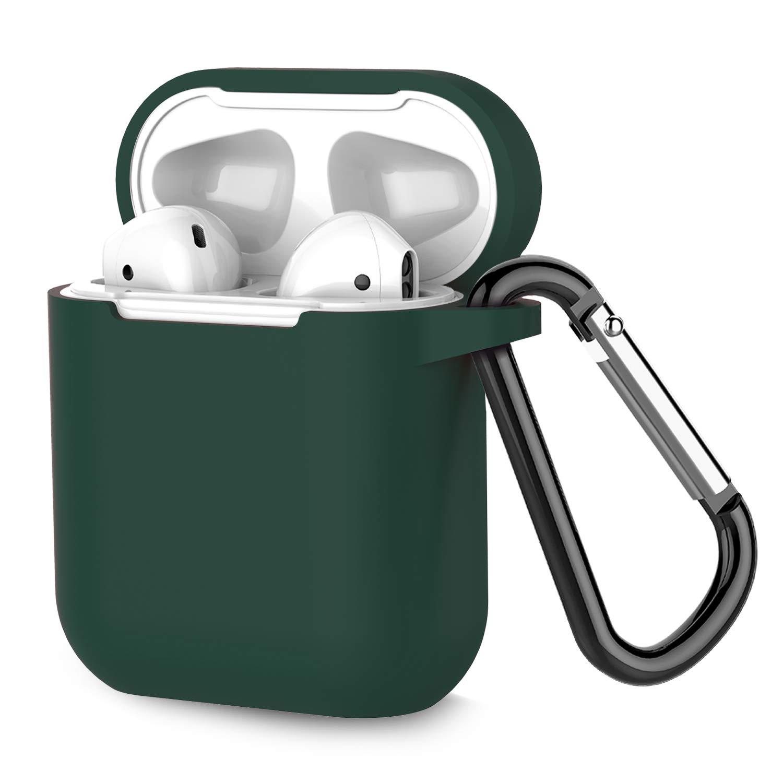 Coffea Airpodsケース AirPodsアクセサリー 耐衝撃ケースカバー ポータブル&保護シリコンスキンカバーケース Apple Airpods 2 & 1用 (フロントLEDは見えません)  アトロビレンズ(Atrovirens) B07QVC7S3P
