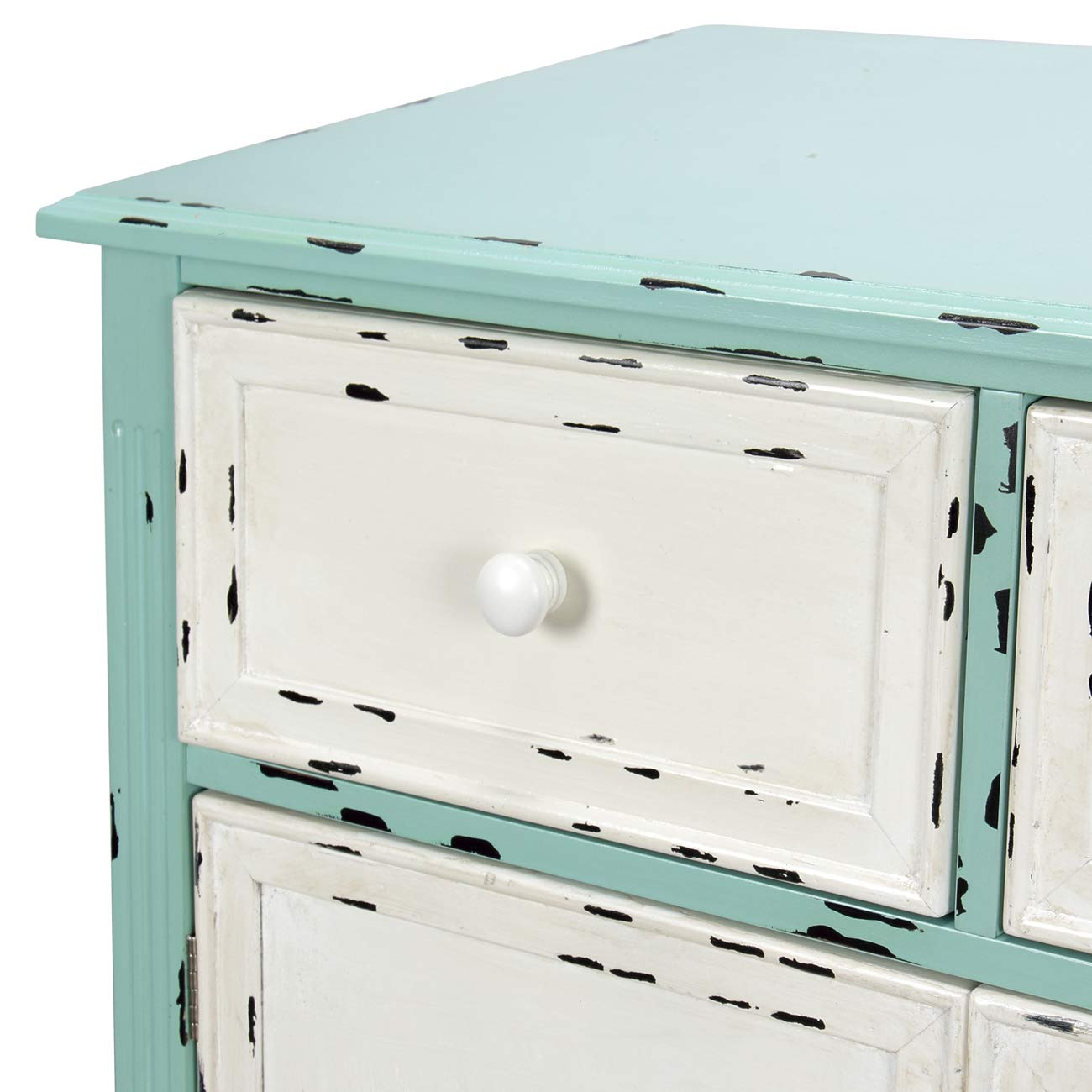 BELLEZE Wood Cabinet with Drawers and Doors Vintage Accent Storage Chest for Entryway, Living Room (Antique Blue) by Belleze (Image #6)