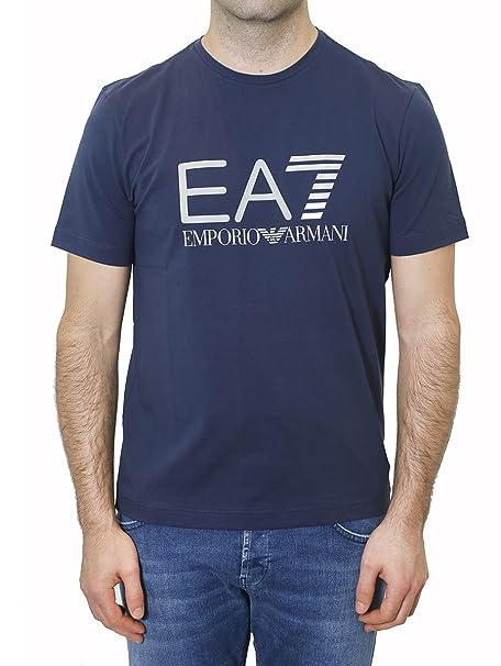 Emporio Ea7 Blu Armani Girocollo Shirt Maglia T Maniche Uomo Corte IyvYfmb76g