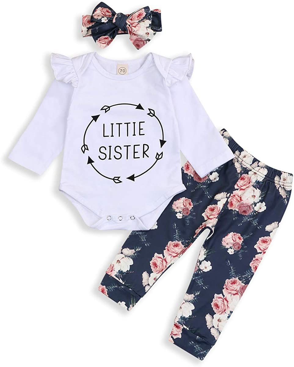 Newborn Toddler Baby Girl Cotton Floral Top Romper Long Pants Outfit Clothes Set