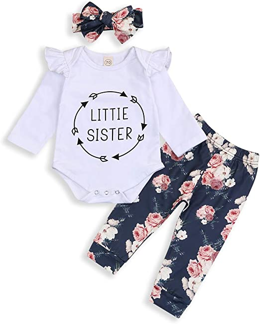 3PCS Infant Baby Girl Kid Long Sleeve Top Dress Floral Pants Headband Outfit Set