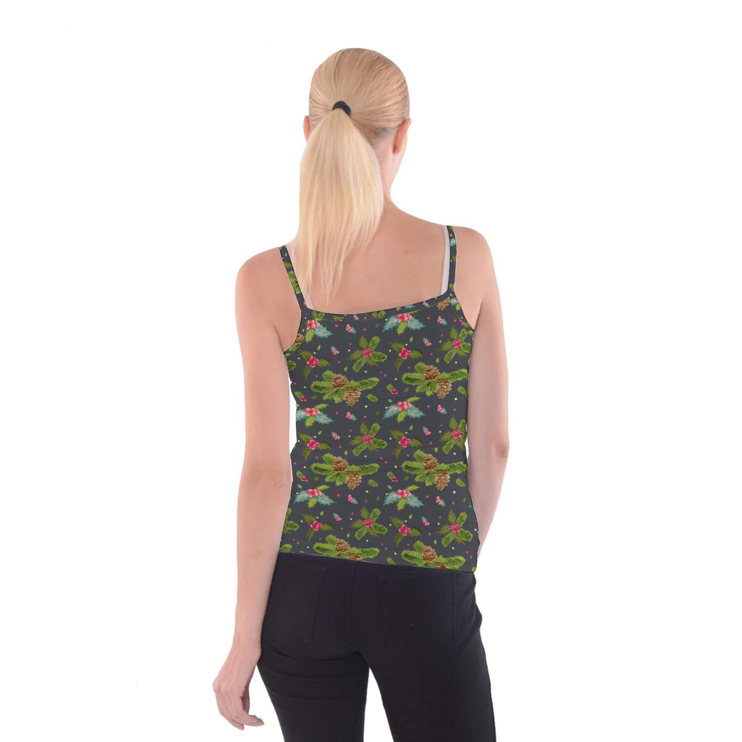 Queen of Cases Christmas Holly Camisole Spaghetti Strap Tank Top