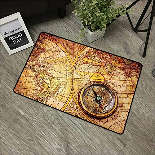 Bathroom mat W19 x L31 INCH Antique,Compass on an Ancient World Map Historic Borders Century-Old Antiquity Theme,Yellow Orange Natural dye printing to protect your baby's skin Non-slip Door Mat Carpet ()
