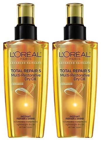 L'Oreal Paris Ceramide Total Repair 5 Multi-Restorative Dry Oil, 3.4 fl oz (Pack of 2)