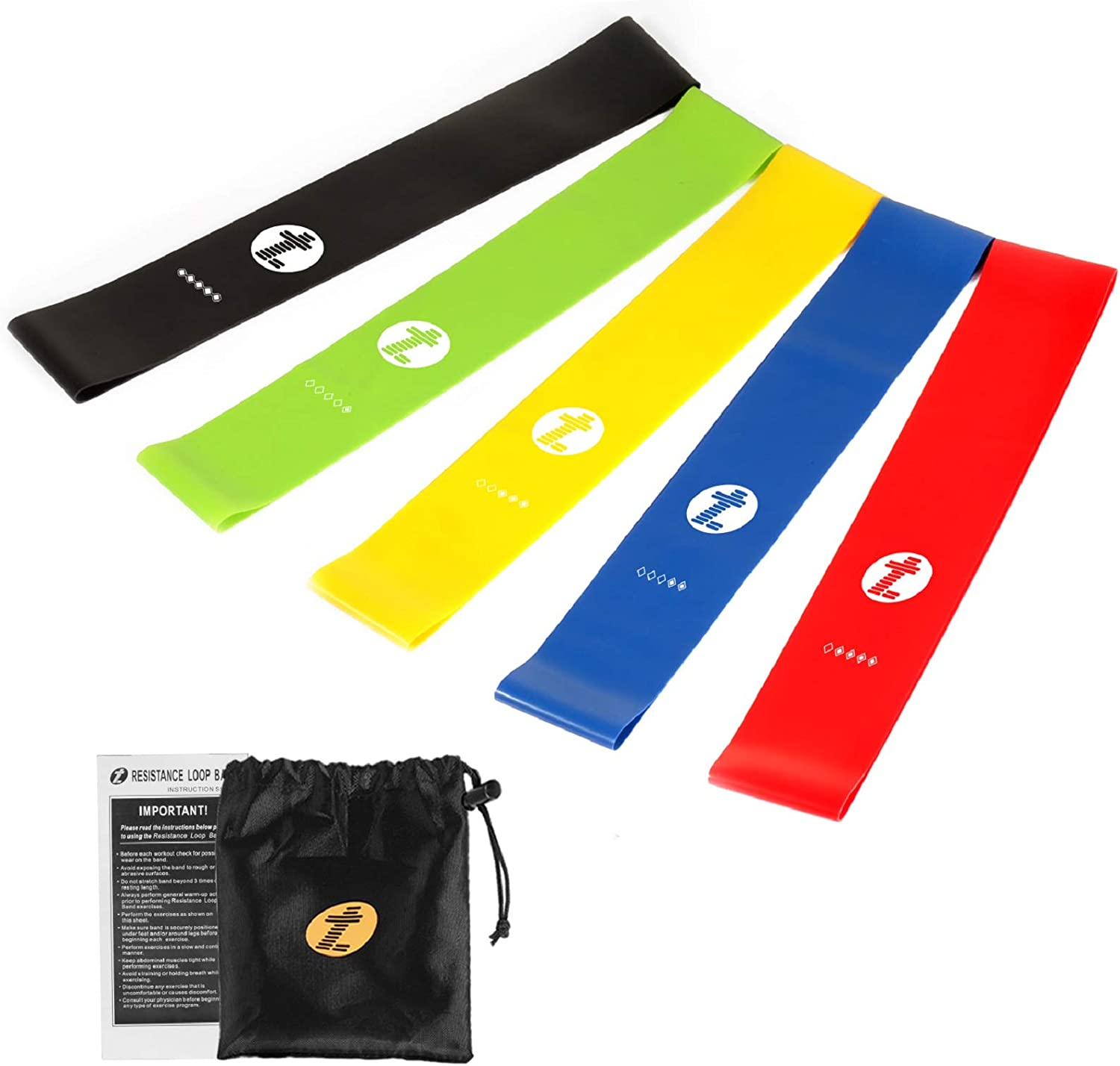 Etoplus Resistance Bands - Set of 5 Exercise Bands, Resistance Loops Workout Bands for Physical Therapy, Legs, Butt, Home Fitness, Yoga, Stretching with Instruction Manual & Carry Bag