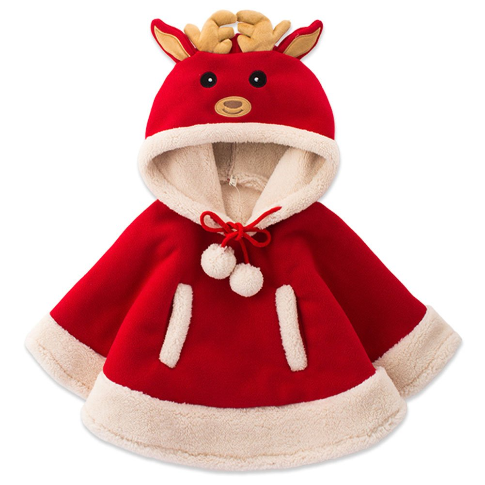 Adorable Reindeer Baby Clothes Cloak Baby Kids Warm Hood Cape Coat (130cm)