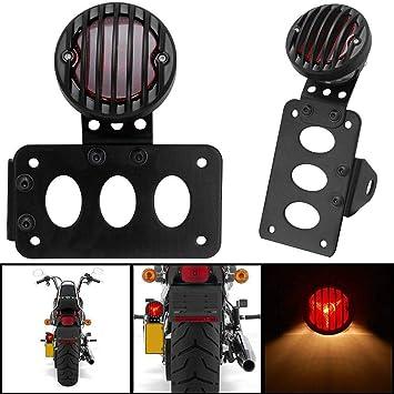 """1 Set Motorcycle Metal /""""STOP/"""" Tail Brake Light License Plate Bracket Side Mount"""