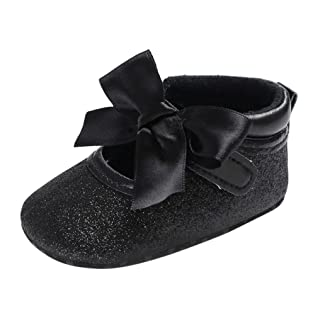 Voberry Toddler Baby Girls Boy's Leater Sneaker Moccasins Anti-slip Soft Sole Bow Shoes (0~6 Month, Black)