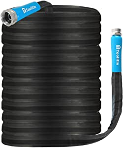 TOOLITIN Garden Hose with Fiber Jacket, Kink-Free, Twist-Free, Non-Expanding, 100ft X 5/8-Inch, Lightweight, RV and Camper High Pressure Hose, Easy to Use (100FT)