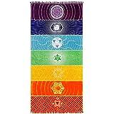 Neasyth Chakra Tapestry Meditation Yoga Rug Towels Mexico Chakras Tassel Striped Floor Mat 59 in (Soft Microfiber (Like…