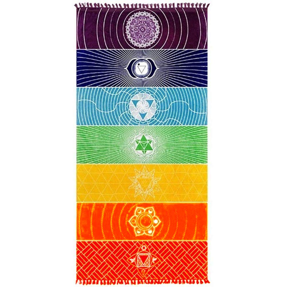 Neasyth Chakra Tapestry Meditation Yoga Rug Towels Mexico Chakras Tassel Striped Floor Mat 59 in Polyester, 59x30in