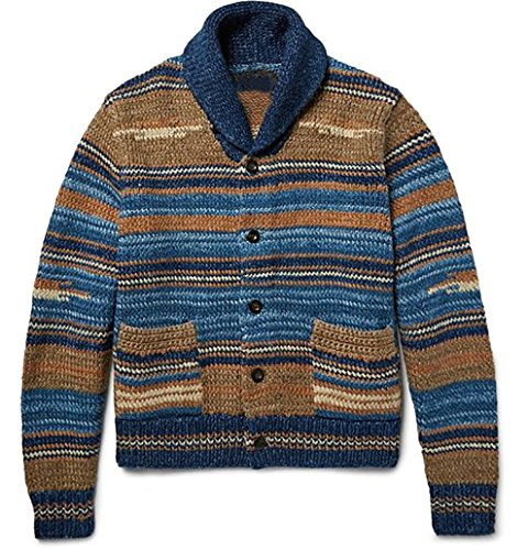 Sweet Dreams Home Deluxe 100% Royal Alpaca Shawl Cardigan, Beige Blue Stripes, Hand-Knitted by Sweet Dreams Home