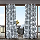 gazebo curtains 12x14 1 Piece Navy Fretwork Gazebo Curtain Panel 108 Inch, Blue Trellis Outdoor Curtain Light Filtering For Patio Porch, Water Resistant Indoor/outdoor Drapes For Sunroom Pergola Garden Grommet, Polyester