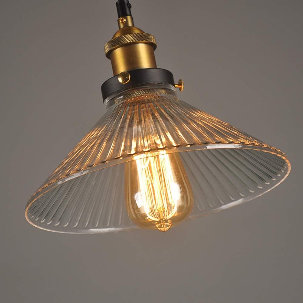 Glighone Suspension Luminaire Industrielle Int/érieur Vintage R/étro E27 Edison Culot Abat-jour en Verre Plafonnier Eclairage pour Chambre Loft Salon Cuisine Salle /à Manger