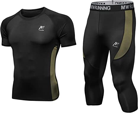 Mens T-Shirt Pants Compression Fitness Base Layer Tights Jersey Tops Trousers