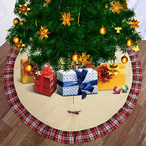 Artmag 48 Inches Christmas Tree Skirt,Linen Burlap Tree Skirt Red and Black Plaid Ruffle Edge Border Large Round for Indoor Outdoor Mat Xmas Party Holiday Decorations