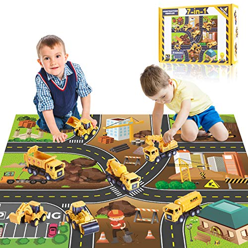 Yetech 7-1n-1 Construction Vehicles Toys Set with Play Mat – 7 Sturdy Engineering Trucks Toys, 27.6*31.5inches Play Mat…