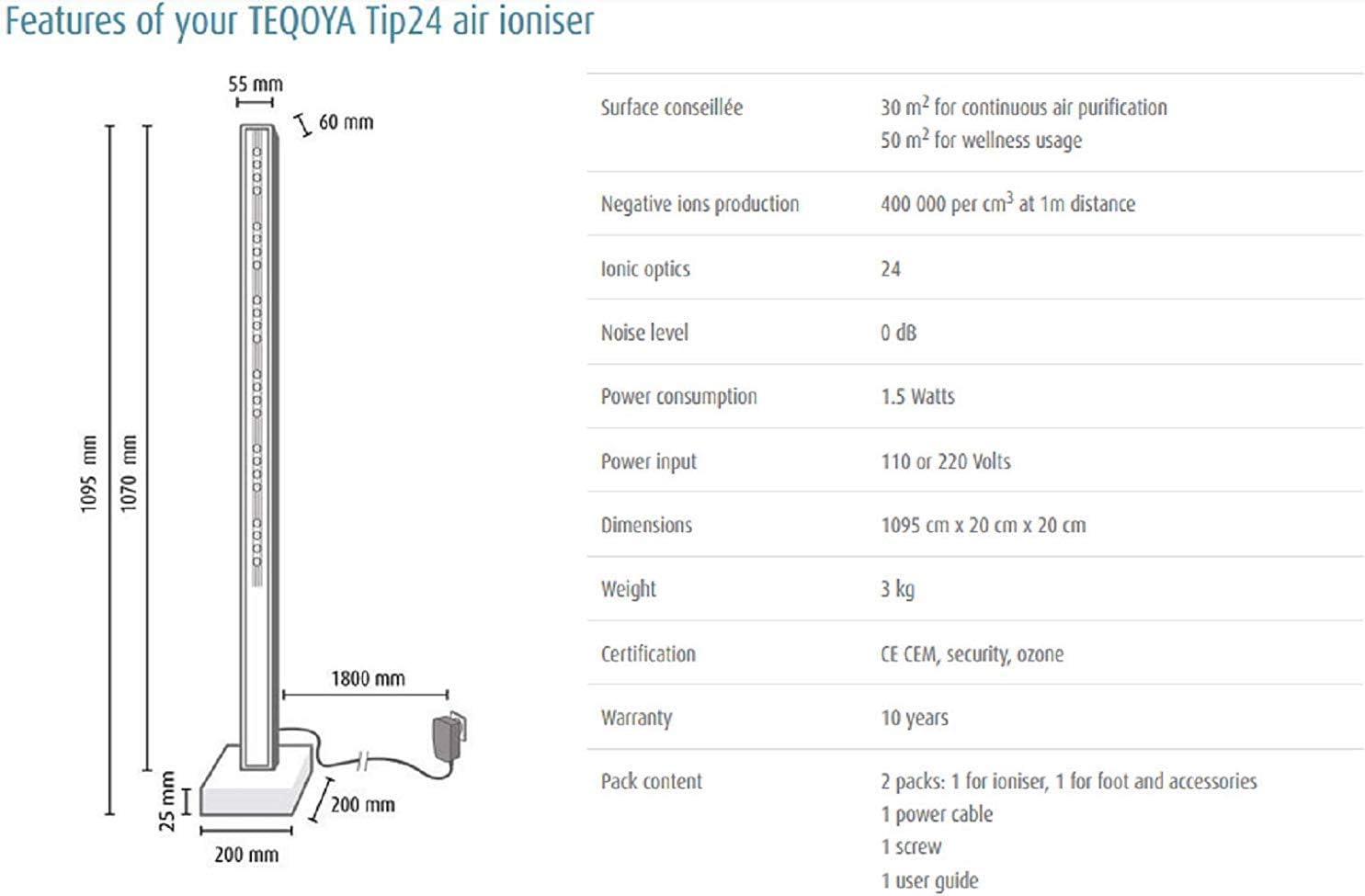 fendkcg Tip 24 | gran purificador de aire silencioso y discreto | ionizador para pieza de 30 m2 | diseño elegante | consumo eléctrico quasi tablas | Purification Air en continua |