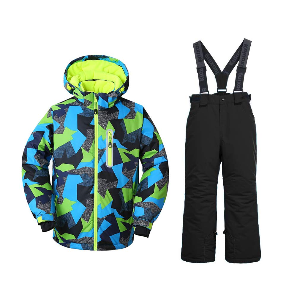 Boy's Ski Jacket and Pants Snow Insulated Suit Windproof & Waterproof (Black, 16)