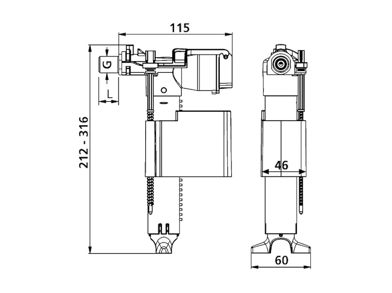 Sanit - Válvula universal de llenado, válvula de flotador 9,5 mm (3/8) para cisterna 510, 1 pieza, 25.001.00. 0000: Amazon.es: Bricolaje y herramientas