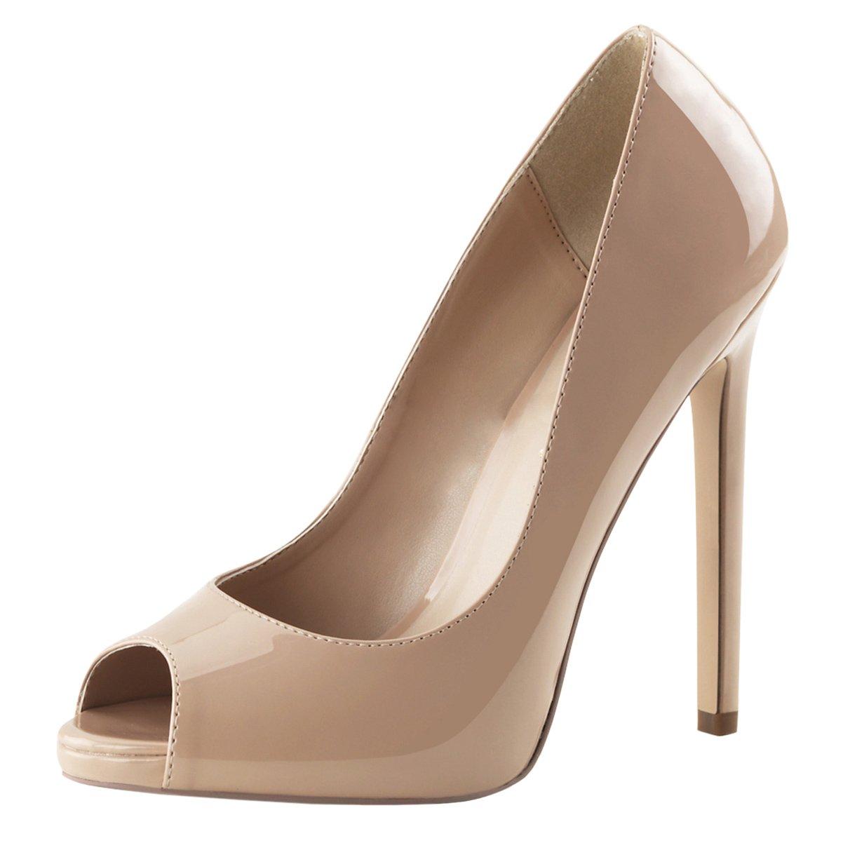 62c0e6553c7e2 Amazon.com | Womens Nude High Heels Peep Toe Pumps Platform Shoes ...