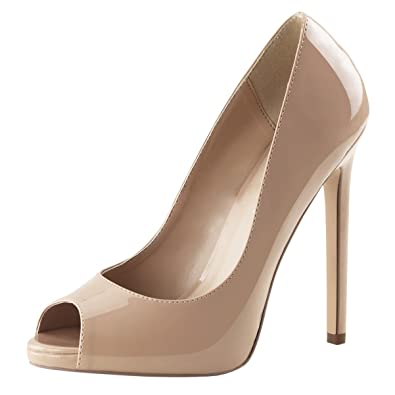 bfa3c74348b6 Womens Nude High Heels Peep Toe Pumps Platform Shoes Dress Stiletto 5 Inch  Heel Size