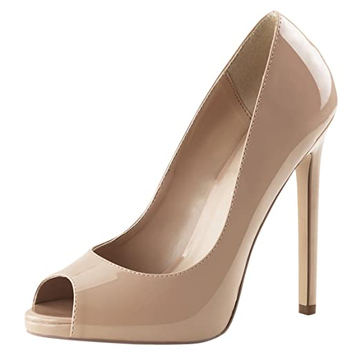 Amazon.com | Womens Nude High Heels Peep Toe Pumps Platform Shoes ...