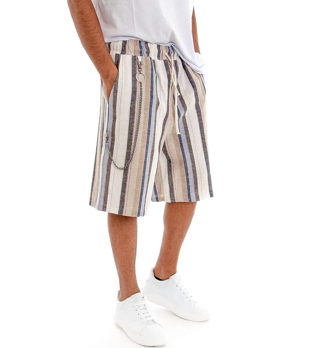 Giosal Pantalone Corto Uomo Bermuda Lino Beige Pantaloncini Rigato Righe Multicolore