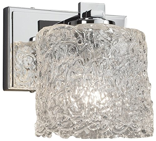 - Justice Design Group Lighting GLA-8441-30-LACE-NCKL-LED1-700 Veneto Luce Era LED 1 Wall Sconce-Brushed Nickel Finish with Venetian Glass Lace-Oval Shade
