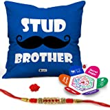 """Indigifts Combo Of Stud Brother Printed Microsatin Fibre Cushion Cover 12""""X12"""" With Filler, Crystal Rakhi, Roli, Chawal, Greeting Card (Multicolor)"""