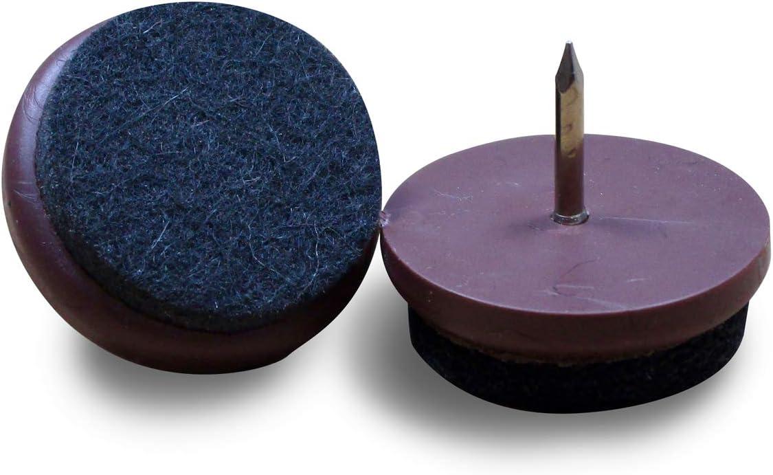 ajile BRUN 32 mm Patin glisseur en feutre /à clouer /à usage intensif diam 4 pi/èces FFI832