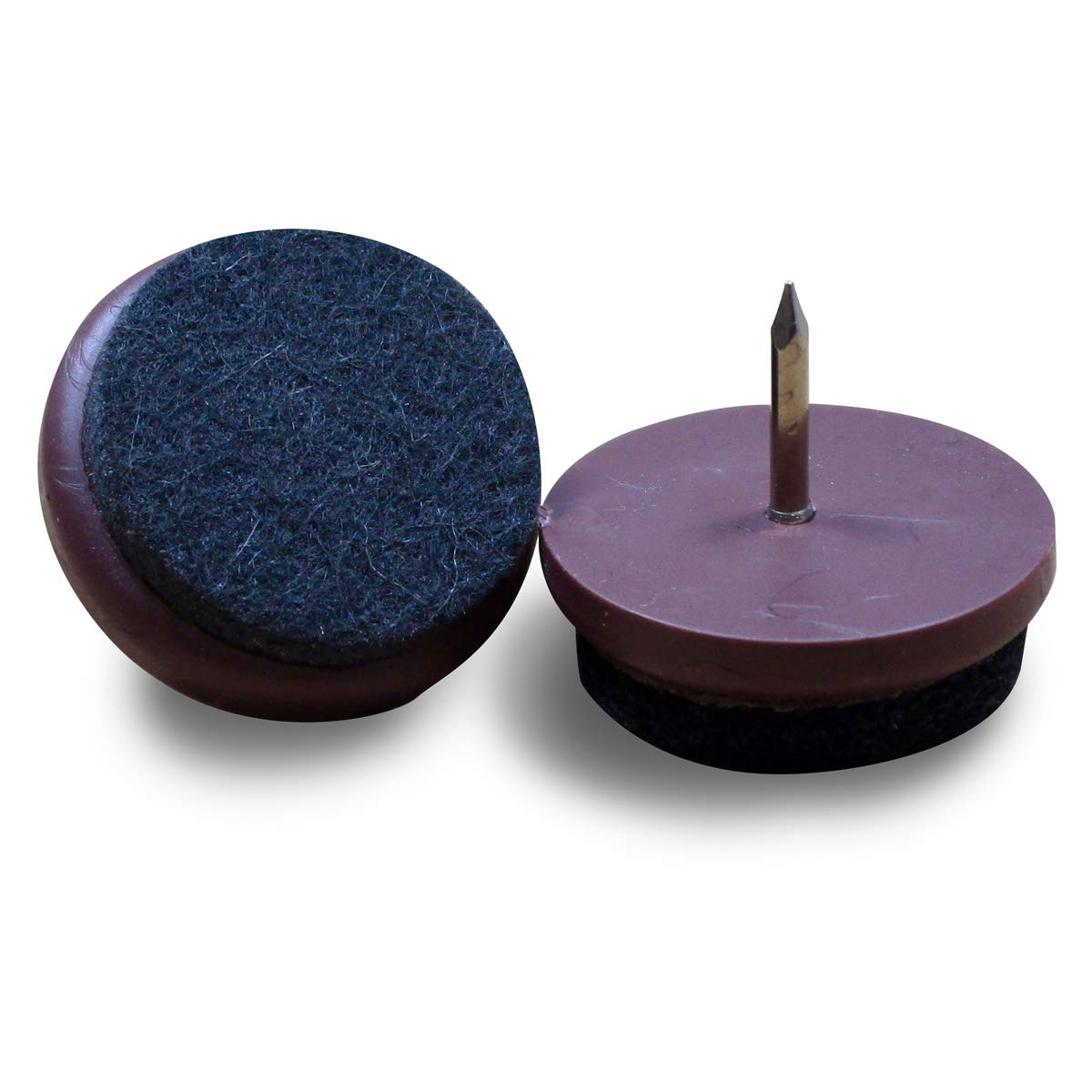 Ajile® - Lot de 16 pièces - Patin glisseur à clouer diam. 24 mm pour USAGE INTENSIF en plastique BRUN et feutre GRIS SOMBRE - FFI824