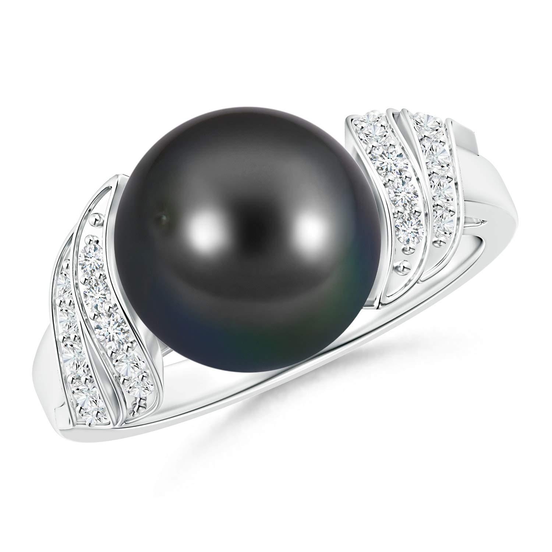 Tahitian Cultured Pearl and Diamond Swirl Ring in 14K White Gold (10mm Tahitian Cultured Pearl) by ANGARA