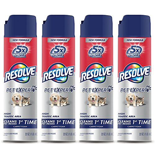Feces Stain Removal (Resolve Pet High Traffic Carpet Foam, 88 oz (4 Cans x 22 oz), Cleans Freshens Softens & Removes Stains)