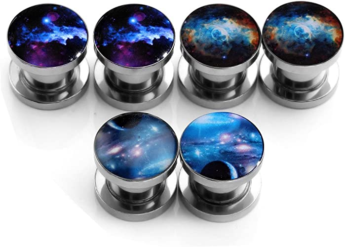 Pair 6G-5//8/'/' Stainless Steel Outer Space Ear Plugs Tunnels Expander Stretcher