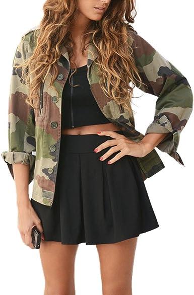 Chaqueta Militar Mujer Camisas Camuflaje de Manga Larga Otoño Invierno Jacket Casual Abrigo Estilosa Camo Bomber Ejército Outcoat Ropa Adolescentes Chica Yvelands: Amazon.es: Ropa y accesorios