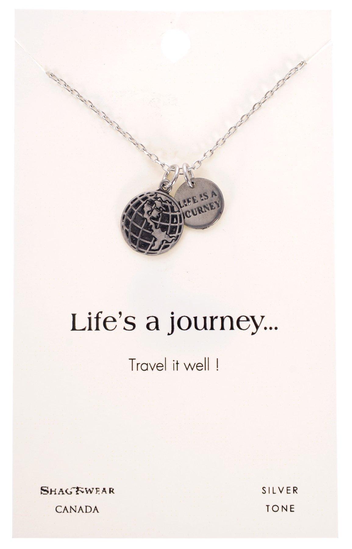 Shagwear Journey Teacher Inspirations Quote Pendant Necklace (Travel Globe Pendant)