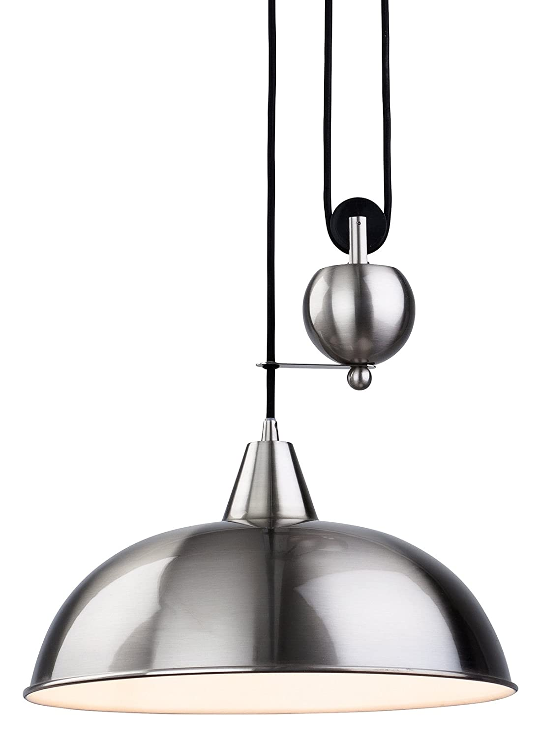 Rise and fall pendant light fittings - Firstlight 2309bs E27 Edison Screw 60 Watt Century Rise And Fall Pendant Light Brushed Steel Amazon Co Uk Lighting