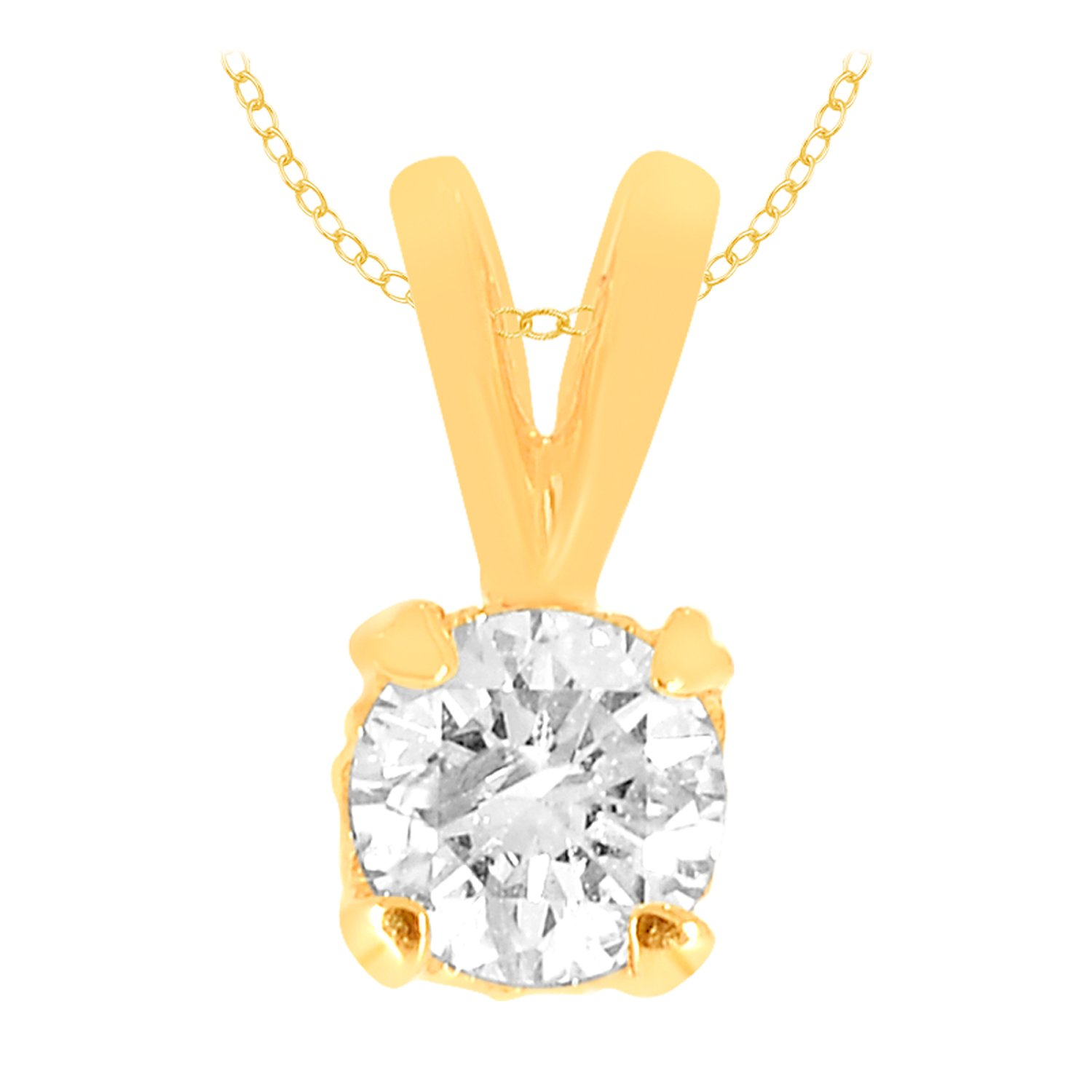0.16 cttw 14k Gold Round Diamond Solitaire Pendant Necklace H-I Color I1-I2 Clarity (yellow-gold)