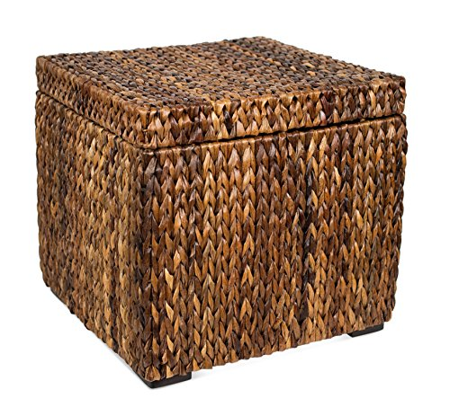 BIRDROCK HOME Woven Storage Cube - Abaca Seagrass Decorative Ottoman - Living Room Side Table - Store Blankets Pillows Magazines Books Remotes (Table Side Square Trunk)