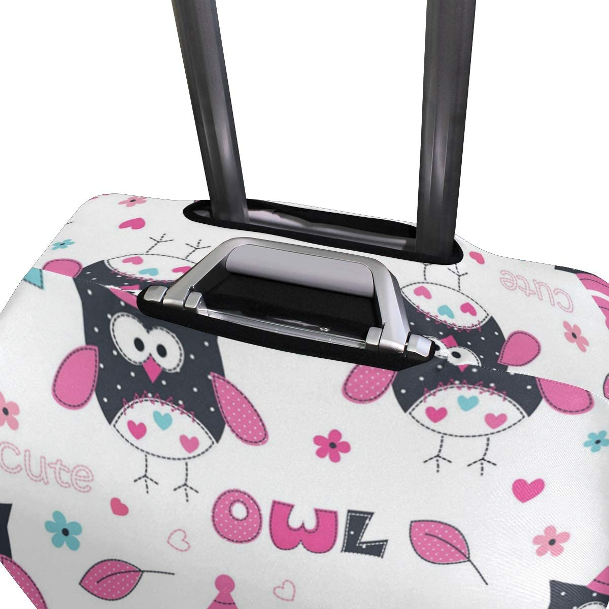 Pink Love Owl Decorations Travel Luggage Protector Case Protective Suitcase Cover Elastic Luggage Protector Case Protector,Four Sizes Available