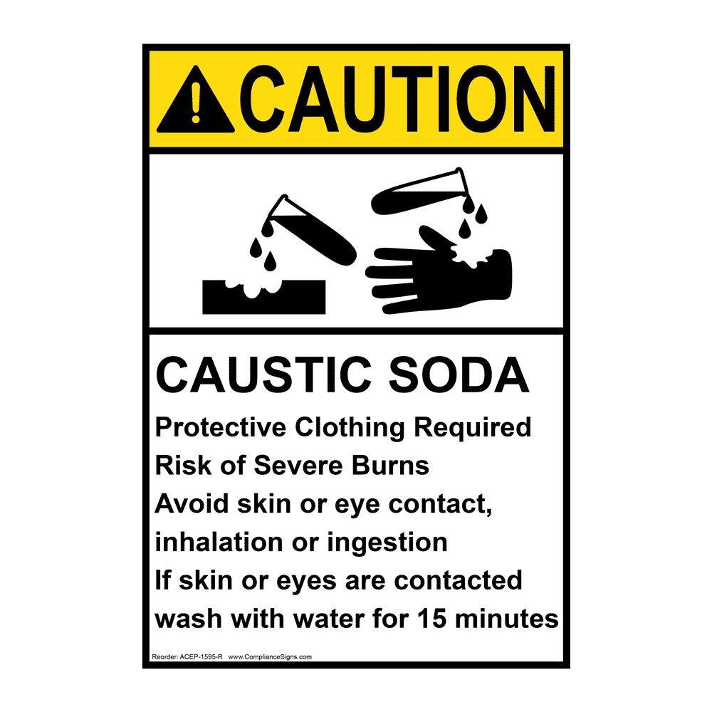 Compliancesigns Vertical Vinyl Ansi Caution Caustic Soda Ppe