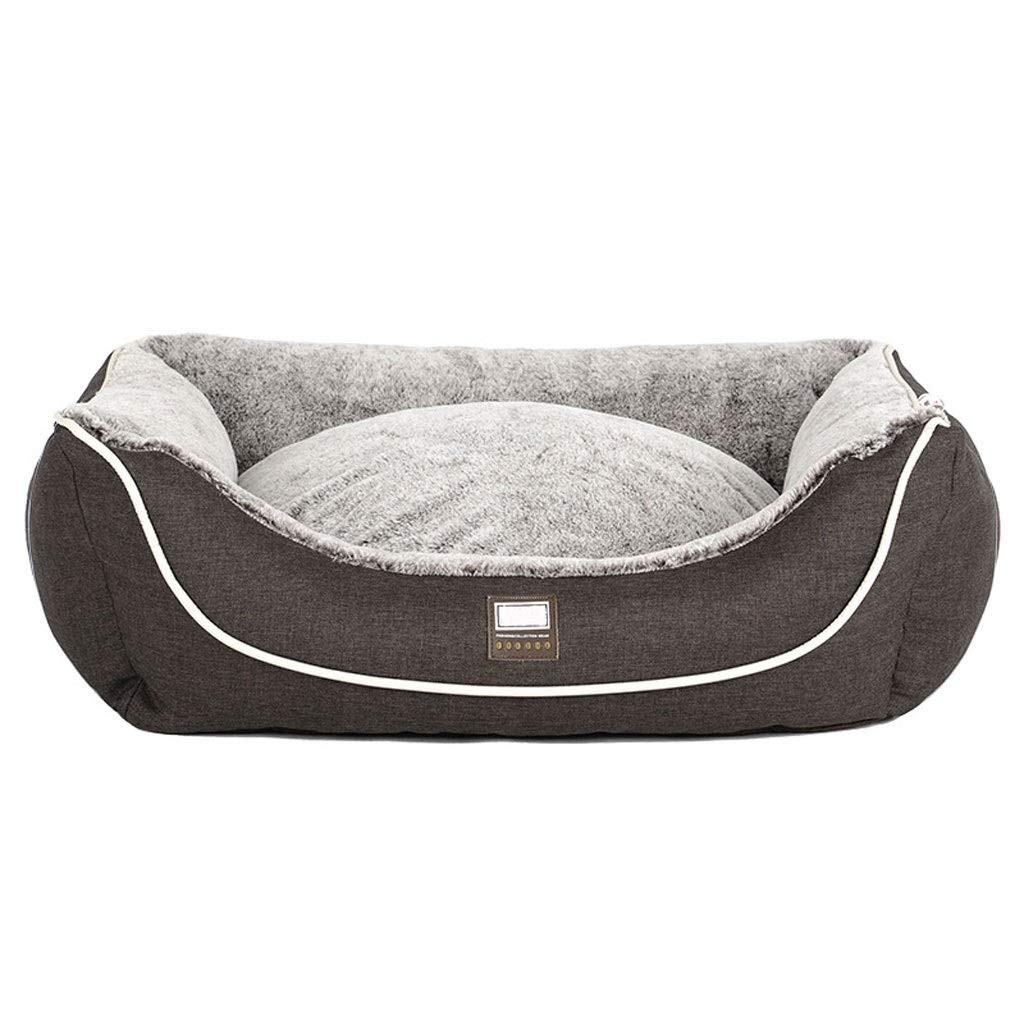 Brown L 907028cmPlush Pet Dog Bed, Pet Cave Round Or Oval Shape Dimple Nesting Pet Bed for Cats and Small Dogs (color   Brown, Size   L 90  70  28cm)