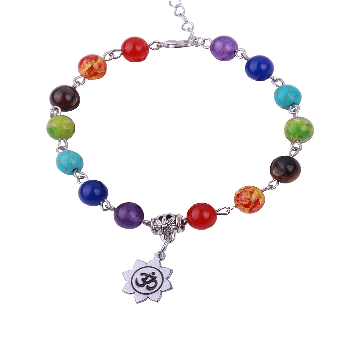 RUNXINTD 7 Chakra Reiki Healing Balancing Bracelet Yoga Beads Jewelry Lotus Bracelet Anklet Meditation Gift for Girls Women (Anklet-OM)