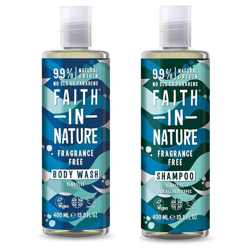 Faith In Nature Fragrance Free Shampoo and Body Wash Duo Pack | Vegan | No Cruelty | 99% Natural Fragrance | No From SLS or Parabens