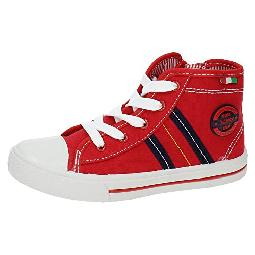 DEMAX 5-K2784-18 Botines Bambas Lona NIÑO Zapatillas Rojo 32